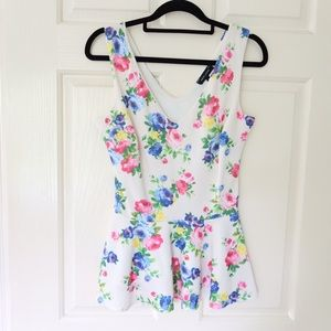 New Look top size 8 white floral peplum evening